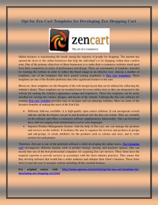 Opt for Zen Cart Templates for Developing Zen Shopping Cart