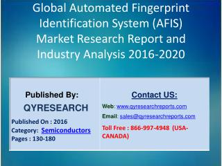 Global Automated Fingerprint Identification System (AFIS) Market 2016 Industry Trends, Analysis, Forecasts and Study