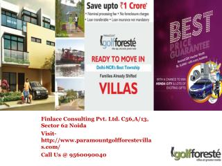 Paramount Golf Foreste Villas Greater Noida- 9560090040