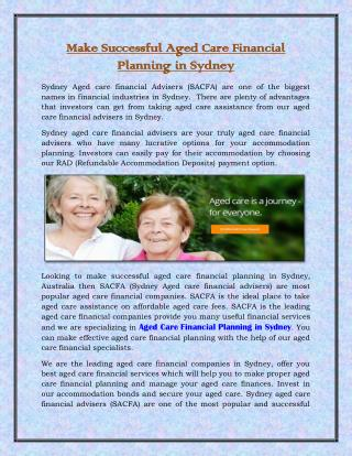 Make Successful Aged Care Financial Planning in Sydney