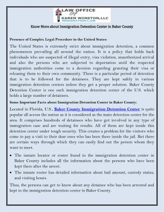 Know More about Immigration Detention Center in Baker County