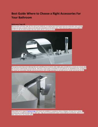 Best Guide Where to Choose a Right Accessories For Your Bathroom