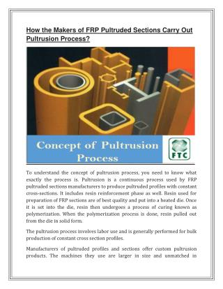 How the Makers of FRP Pultruded Sections Carry Out Pultrusion Process?