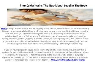 PhenQ reduces the cholesterol level