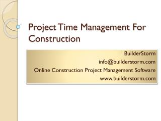 Project Time Management For Construction