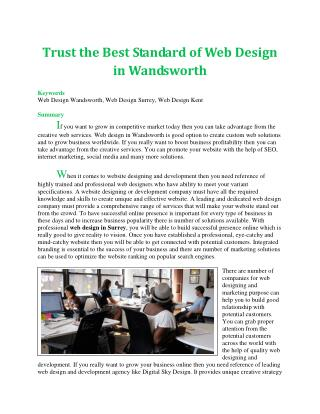 Trust the Best Standard of Web Design in Wandsworth