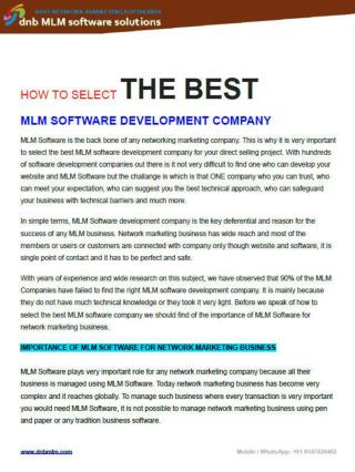 How to select the best mlm software development company