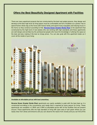 Offers the Best Beautifully Designed Apartment With Facilities