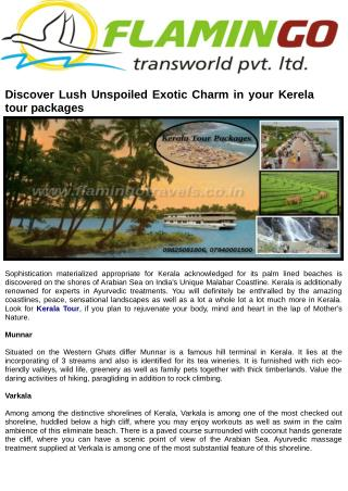Discover Lush Unspoiled Exotic Charm in your Kerela tour packages
