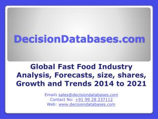 Fast Food Market: Global Industry Size, Share, Trends, and forecasts upto 2021