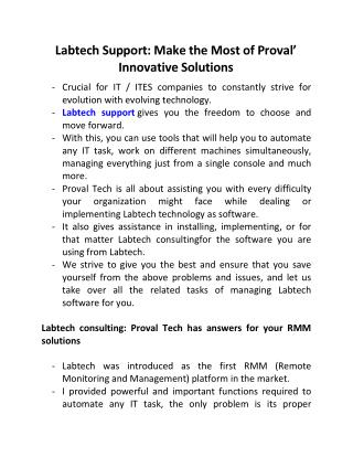 Labtech Support: Make the Most of Proval' Innovative Solutions