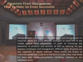 Corporate Event Management- Vital To Make An Event Successful - sWISHIn