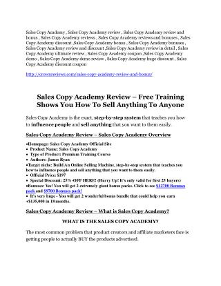 Sales Copy Academy review - (free) jaw-drop bonuses