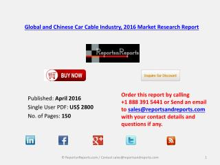 Car Cable Market Status and Industry Analysis for Global and China 2016-2021