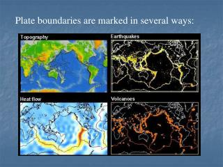 Plate boundaries are marked in several ways: