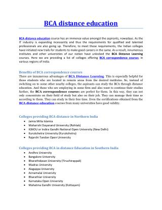 BCA distance education