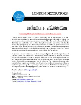 Choosing The Right Painters And Decorators In London