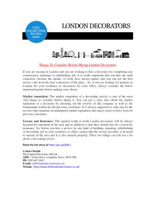 Things To Consider Before Hiring London Decorators
