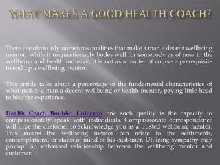 What Makes a Good Health Coach?