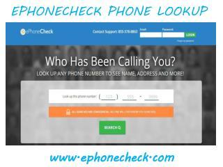 Ephonecheck.com Phone Lookup