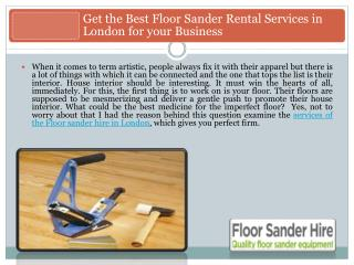 Get the Best Floor Sander Rental Services in London for your Business