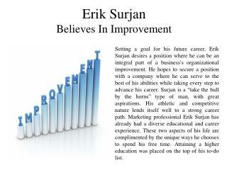 Erik Surjan Believes In Improvement