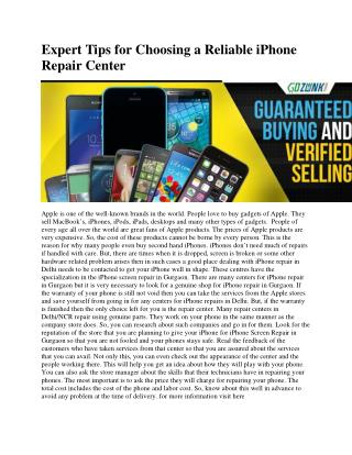 Expert Tips for Choosing a  Reliable iPhone Repair Center