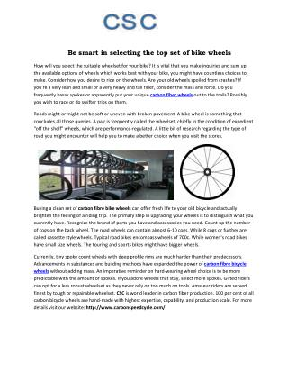 Be smart in selecting the top set of bike wheels