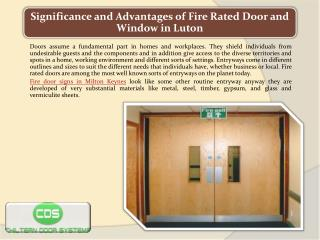Significance and Advantages of Fire Rated Door and Window in Luton