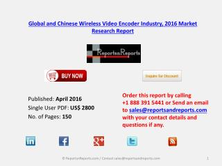 Wireless Video Encoder Market Status and Industry Analysis for Global and China 2016-2021