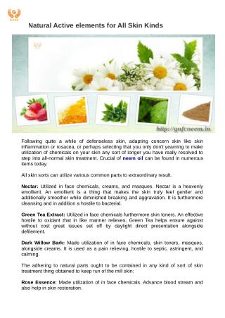 Natural Active elements for All Skin Kinds