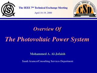 Overview Of The Photovoltaic Power System