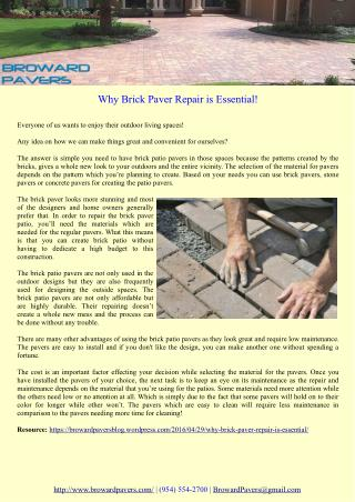 Why Brick Paver Repair is Essential