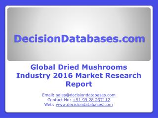 Dried Mushrooms Market Research Report: Global Analysis 2016-2021