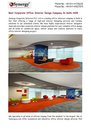 Best Corporate Office Interior Design Company In Delhi-NCR
