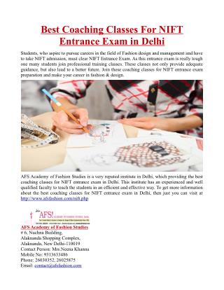Best Coaching Classes For NIFT Entrance Exam