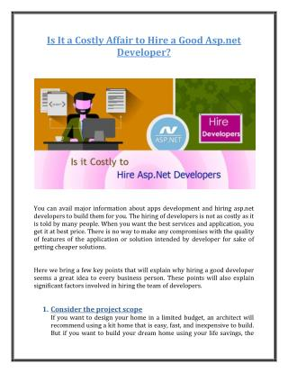 Is It a Costly Affair to Hire a Good Asp.net Developer?