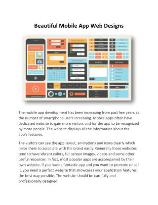 Beautiful Mobile App Web Designs