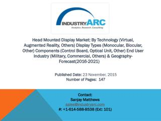 Head Mounted Display Market : new technology wave taking over the portable display market with growing margin.
