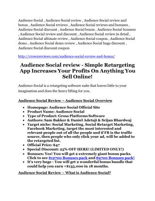 Audience Social review demo & BIG bonuses pack