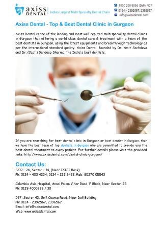 Best Dental Clinic in Gurgaon- Best Dentist in Gurgaon
