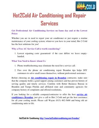 Hot2Cold Air Conditioning and Repair Services