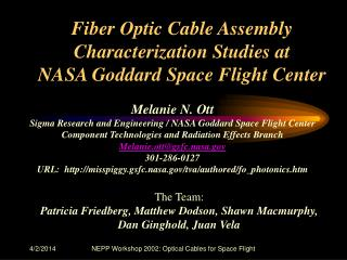 Melanie N. Ott Sigma Research and Engineering / NASA Goddard Space Flight Center Component Technologies and Radiation Ef