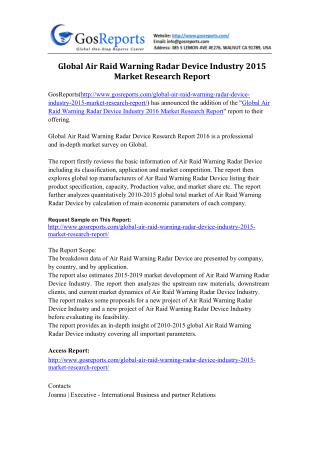 Global Air Raid Warning Radar Device Industry 2015 Market Research Report
