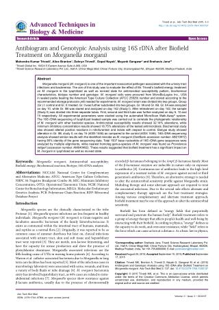 Antibiogram and Genotypic Analysis using 16S rDNA after Biofield Treatment on Morganella morganii
