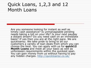 Quick Loans: Get Tailor Made Loan Deals