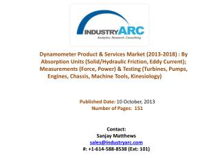 Dynamometer Product & Services Market: used in large scale in automotive Industry.