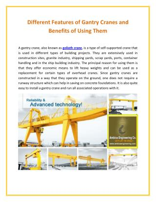 Different Features of Goliath Crane and Advantages of Using Them