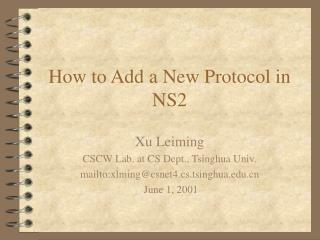 How to Add a New Protocol in NS2