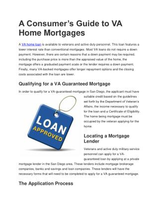 A Consumer's Guide to VA Home Mortgages